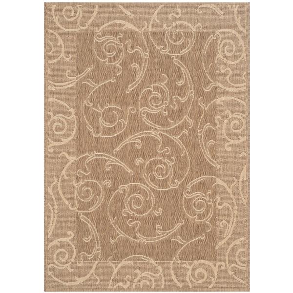 Safavieh Oasis Scrollwork Brown/ Natural Indoor/ Outdoor Rug (4' x 5'7)