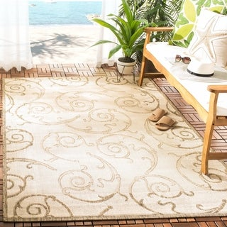 Safavieh Oasis Scrollwork Brown/ Natural Indoor/ Outdoor Rug (5'3 Round)