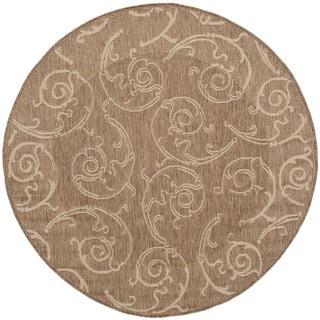 Safavieh Oasis Scrollwork Brown/ Natural Indoor/ Outdoor Rug (5'3 Round)