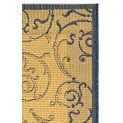 Safavieh Indoor/ Outdoor Oasis Natural/ Blue Rug (2'7 x 5')