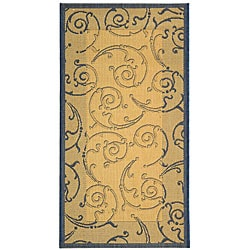 Safavieh Oasis Scrollwork Natural/ Blue Indoor/ Outdoor Rug (2'7 x 5')