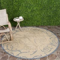 "Safavieh Oasis Scrollwork Natural/ Blue Indoor/ Outdoor Rug - 6'7"" x 6'7"" round"