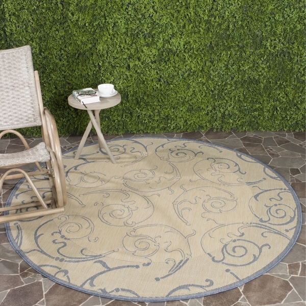 Safavieh Oasis Scrollwork Natural/ Blue Indoor/ Outdoor Rug - 6'7
