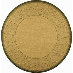 Safavieh Paradise Natural/ Olive Green Indoor/ Outdoor Rug (6'7 Round)