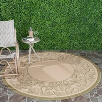 """Safavieh Paradise Natural/ Olive Green Indoor/ Outdoor Rug - 6'7"""" x 6'7"""" round"""