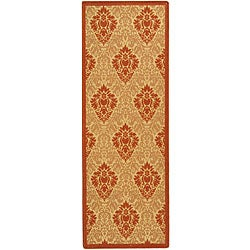 Safavieh Indoor/ Outdoor St. Barts Natural/ Terracotta Runner (2'4 x 6'7)