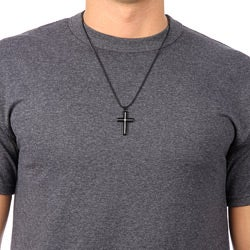 Black Stainless Steel Diamond Accent Cross Necklace