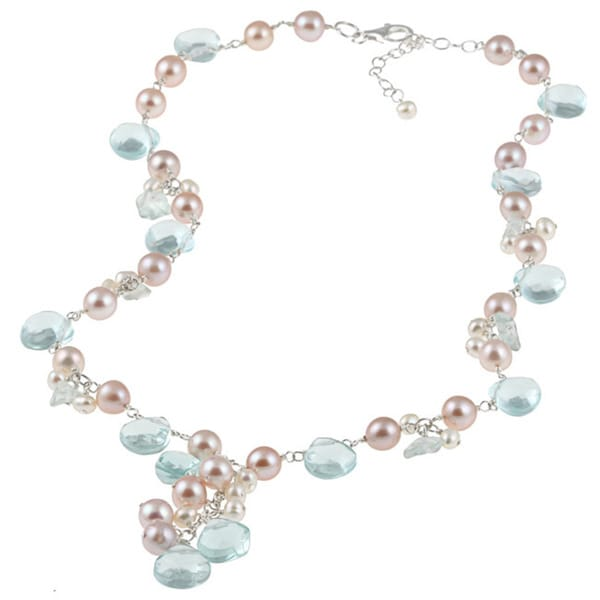 Miadora Sterling Silver Blue Topaz Glass and FW Pearl Necklace (4-7 mm)