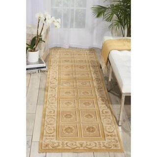 Nourison Newport Garden Gold Wool-blend Rug (2'3 x 8') Runner - 2'3 x 8'