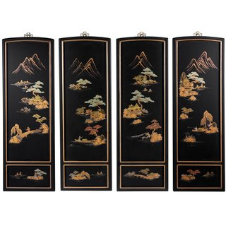 Handmade Set of Four Japanese Landscape Wall Plaques (China)