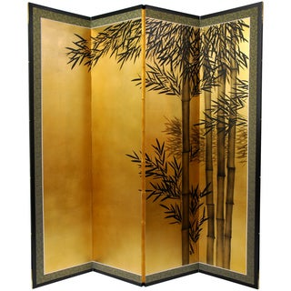 Handmade Gold Leaf Bamboo Silk Painting (China)