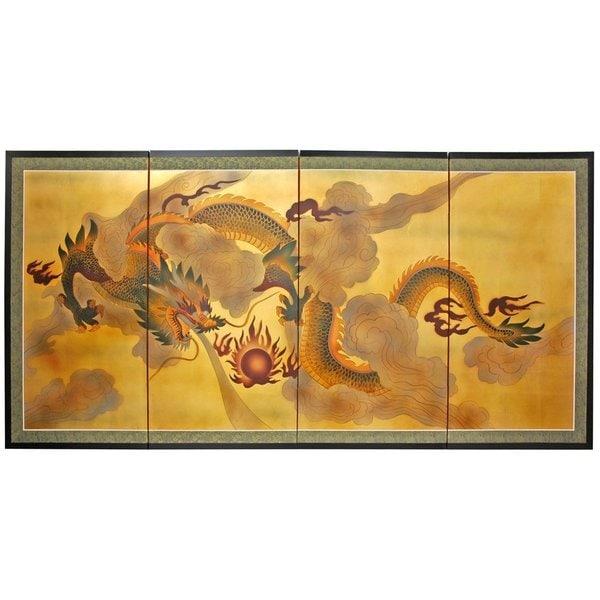 Handmade Gold Leaf Dragon In The Sky Silk Screen