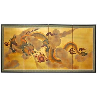 Handmade Gold Leaf Dragon in the Sky Silk Screen Painting