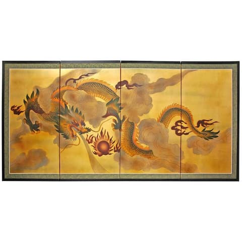 Handmade Dragon in the Sky Gold Leaf Silk Screen Painting