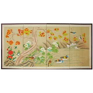 Handmade 'Forever Forest' Silk Painted Room Divider (China)