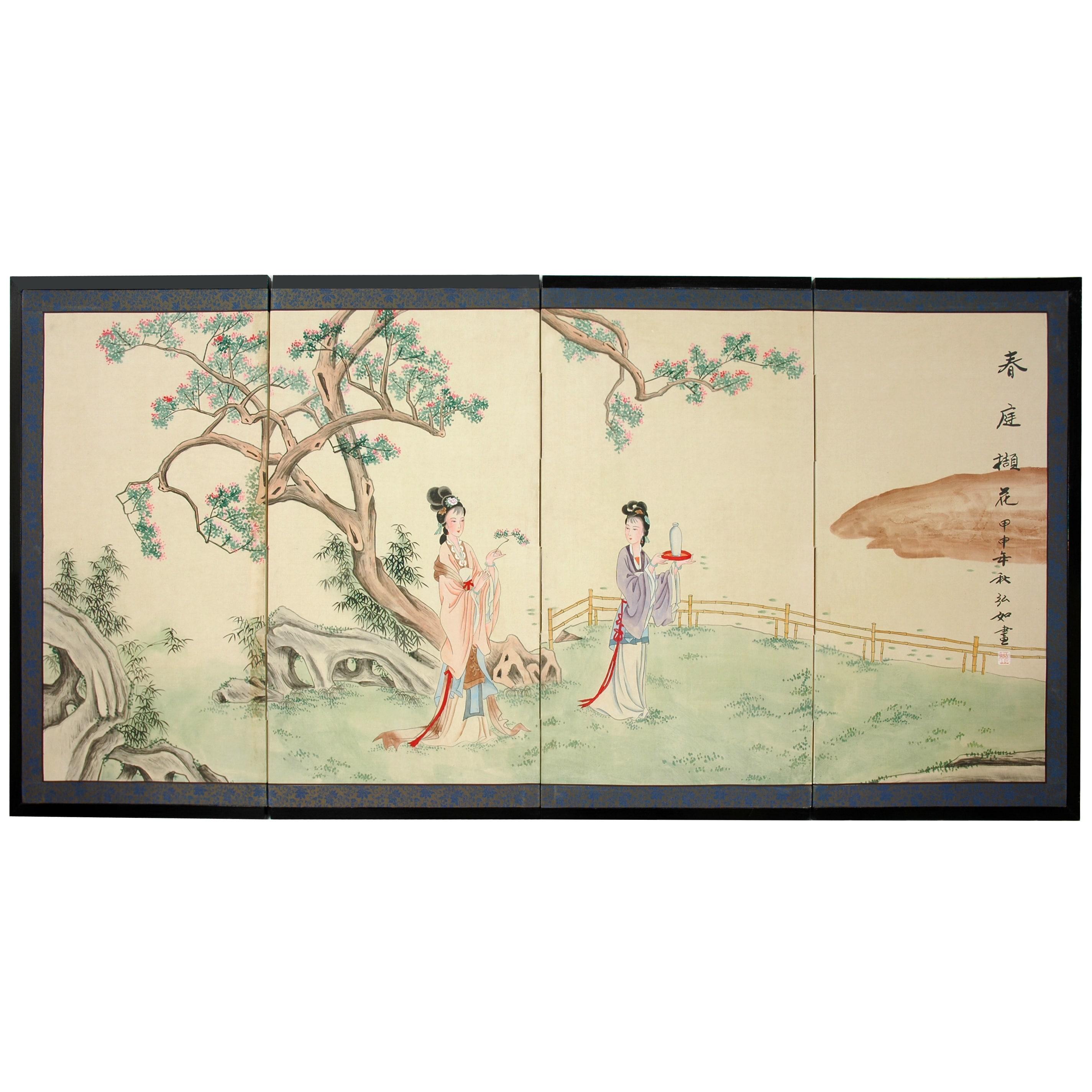 Handmade 'Gift of the Flower' Silk Painted Room Divider (...