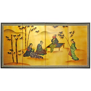 Gold Leaf 'Ladies and Bamboo' Silk Painting (China)