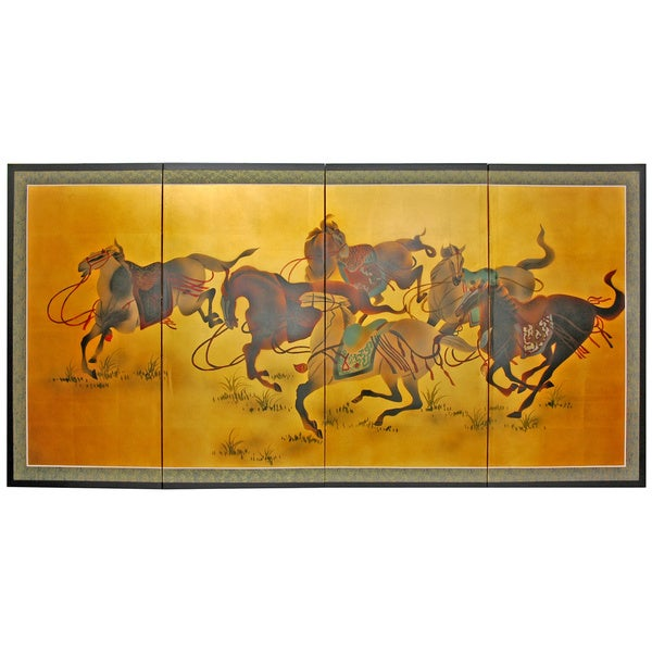 Handmade Gold Leaf 'Riders in the Storm' Silk Painting (China)