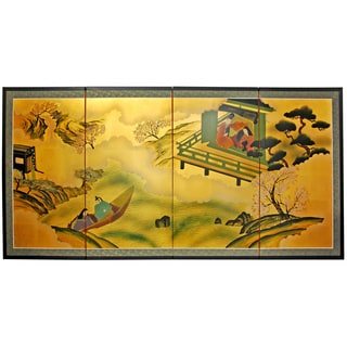 Gold Leaf River View Silk Painting (China)