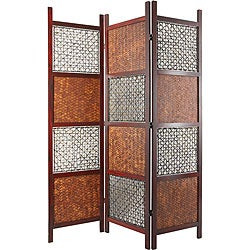 Handmade Wood, Bamboo Leaf and Abaca Rope Room Divider (China)