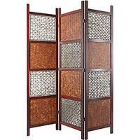 Handmade Wood, Bamboo Leaf and Abaca Rope Room Divider (China) - 72 x 52.5