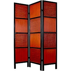 Handmade Rattan and Mahogany Wood 6-foot 3-panelTainan Screen (China)