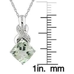 Miadora 10k White Gold Green Amethyst and Diamond Necklace