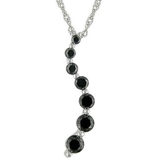 Miadora 10k Gold 1/4ct TDW Black Diamond Journey Necklace