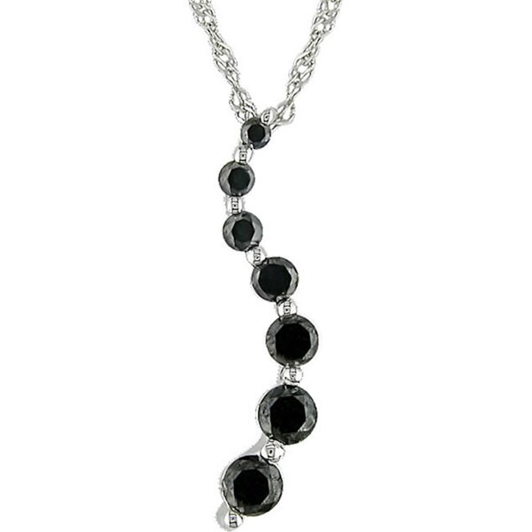 Miadora 10k Gold 1/4ct TDW Black Diamond Journey Necklace