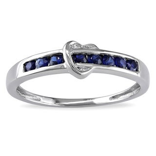 Miadora 10k White Gold Sapphire Heart Ring