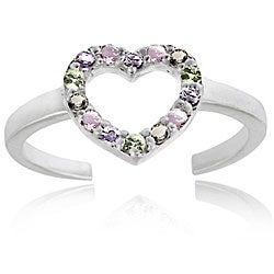 Icz Stonez Sterling Silver Multicolor CZ Heart Toe Ring