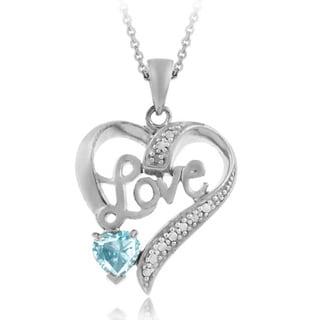 Glitzy Rocks Sterling Silver 7/8ct TGW Blue Topaz and Diamond 'Love' Heart Necklace