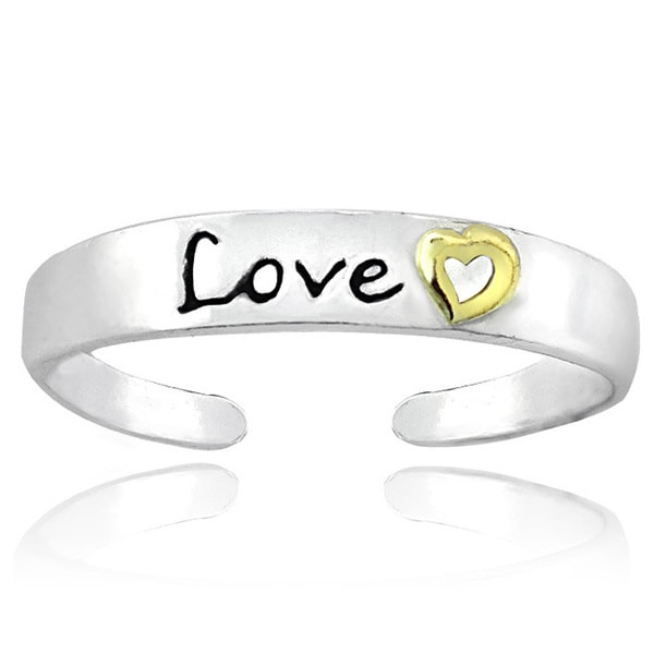 Mondevio 18k Yellow Gold and Sterling Silver Two-tone 'Love' Toe Ring