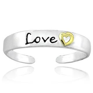 Mondevio 18k Yellow Gold and Sterling Silver Two-tone 'Love' Toe Ring|https://ak1.ostkcdn.com/images/products/4015216/P12039743.jpg?impolicy=medium