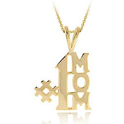 Mondevio 18k Yellow Gold over Sterling Silver '#1 MOM' Necklace