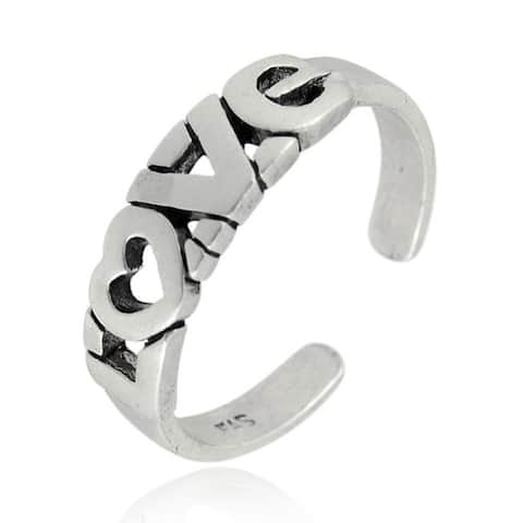 Mondevio Sterling Silver 'Love' Toe Ring