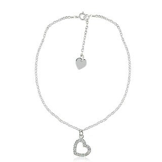 Icz Stonez Sterling Silver Cubic Zirconia Heart Anklet
