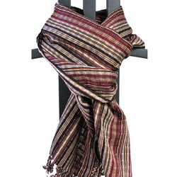 Hand-crafted San Antonio Burgundy Cotton Fringed Scarf (Guatemala)