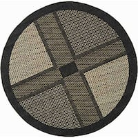 Safavieh Lakeview Black/ Sand Indoor/ Outdoor Rug (5'3 Round)