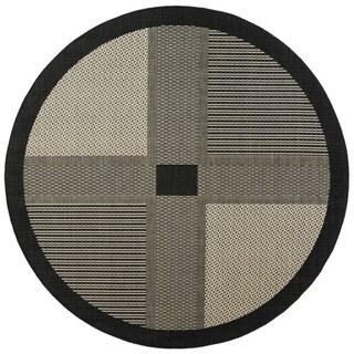 "Safavieh Lakeview Black/ Sand Indoor/ Outdoor Rug - 5'3"" x 5'3"" round"