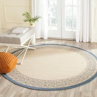 "Safavieh Oceanview Natural/ Blue Indoor/ Outdoor Rug - 6'7"" x 6'7"" round"