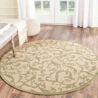 Safavieh Mayaguana Natural/ Olive Green Indoor/ Outdoor Rug (6'7 Round)