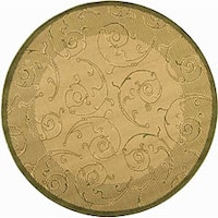 "Safavieh Oasis Scrollwork Natural/ Olive Green Indoor/ Outdoor Rug - 5'3"" x 5'3"" round"