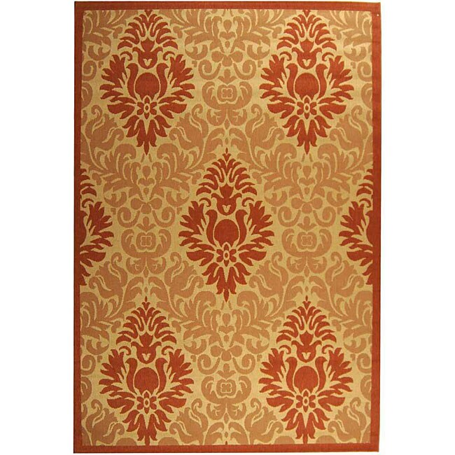 Safavieh St. Barts Damask Natural/ Terracotta Indoor/ Outdoor Rug - 8' x 11'