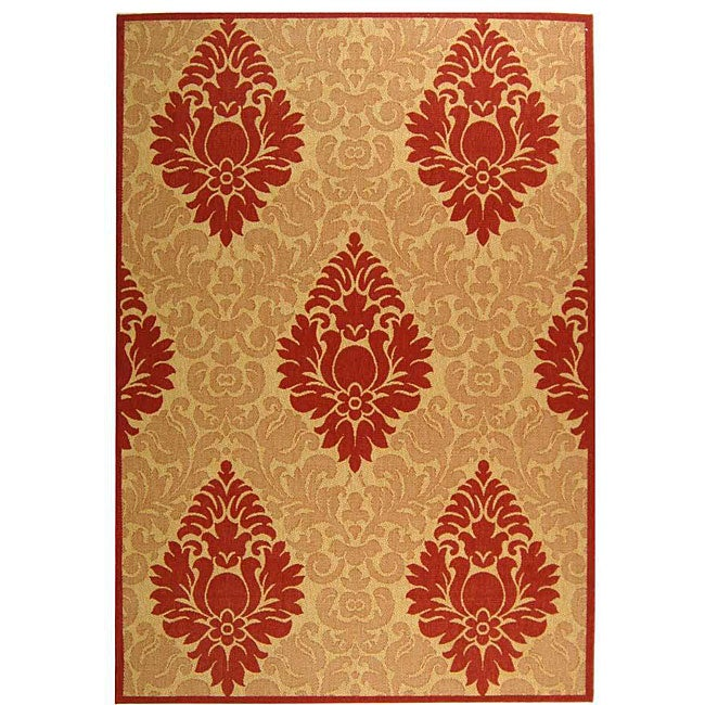 Safavieh St. Barts Damask Natural/ Red Indoor/ Outdoor Rug - 6'7 x 9'6