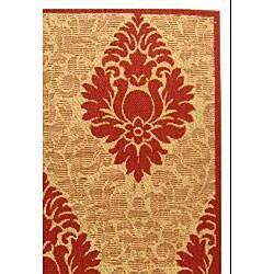 Safavieh St. Barts Damask Natural/ Red Indoor/ Outdoor Rug (6'7 x 9'6) - Thumbnail 1