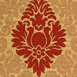 Safavieh St. Barts Damask Natural/ Red Indoor/ Outdoor Rug (6'7 x 9'6) - Thumbnail 2