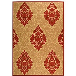 Safavieh St. Barts Damask Natural/ Red Indoor/ Outdoor Rug - 6'7 x 9'6 - Thumbnail 0