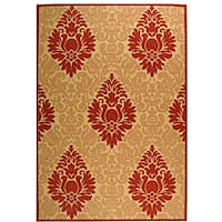 Safavieh St. Barts Damask Natural/ Red Indoor/ Outdoor Rug (6'7 x 9'6) - 6'7 x 9'6