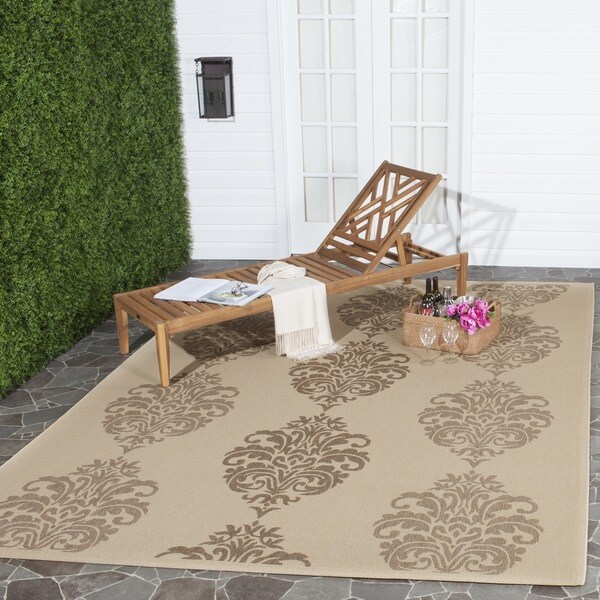 Safavieh St. Martin Damask Natural/ Brown Indoor/ Outdoor Rug (5'3 x 7'7)